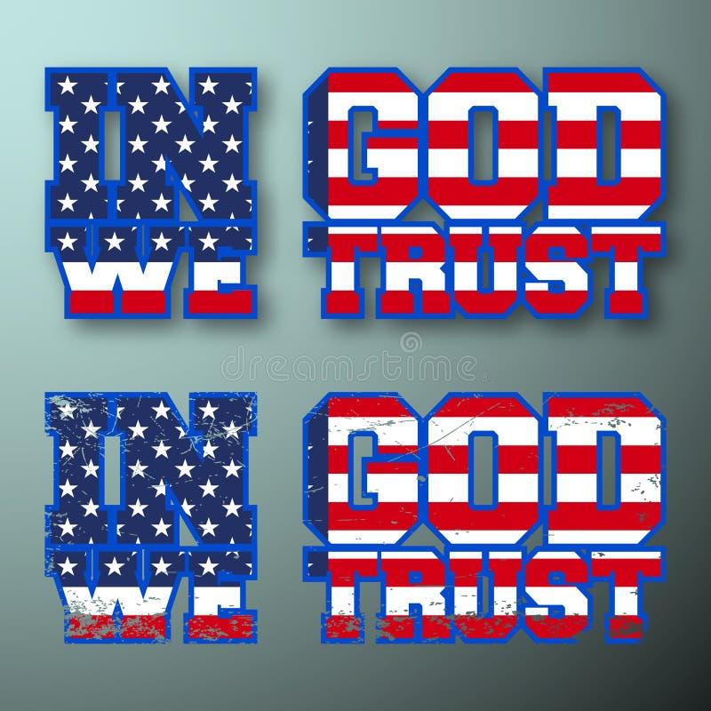Dans Dieu nous faisons confiance au timbre de T-shirt de vintage illustration libre de droits