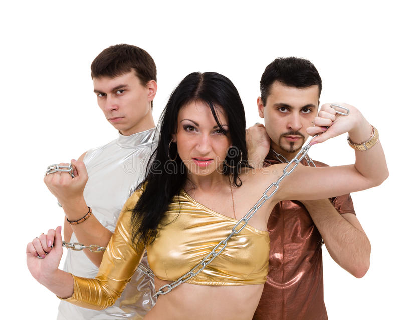 Dans för diskodansarelag, på den vita oavkortade längden arkivbilder