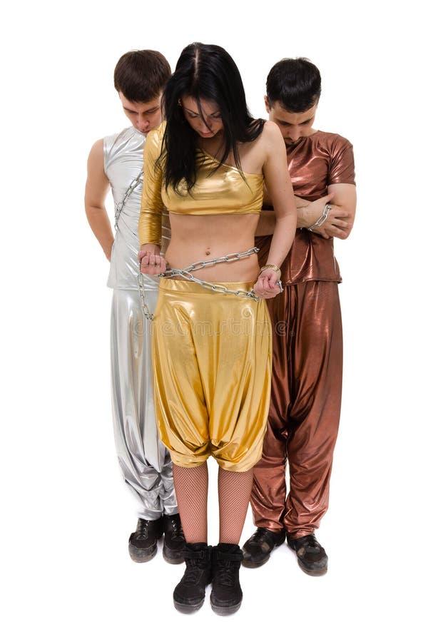 Dans för diskodansarelag som isoleras på den vita oavkortade längden royaltyfri bild