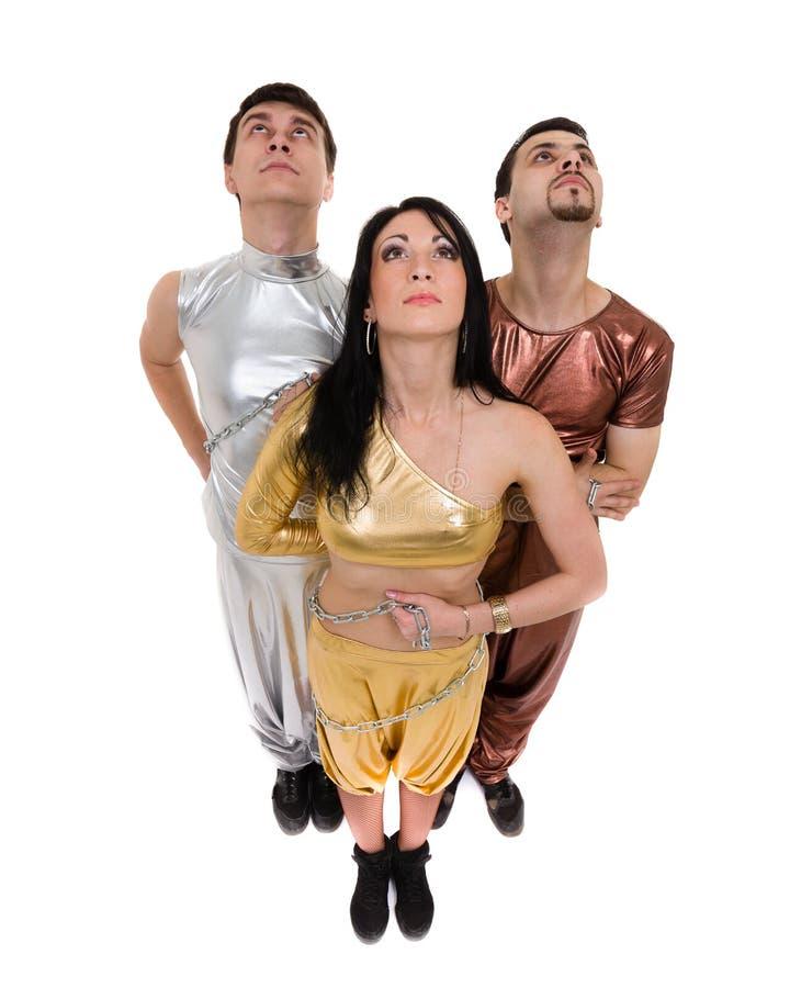 Dans för diskodansarelag som isoleras på den vita oavkortade längden fotografering för bildbyråer