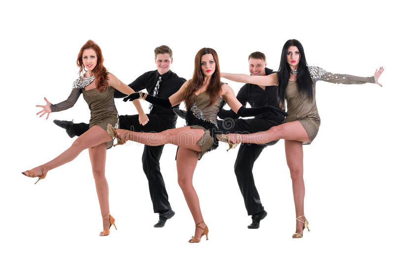 Dans för kabaretdansarelag Isolerat på vit royaltyfri bild