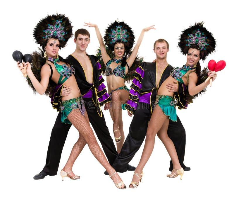 Dans för sambadansarelag som isoleras på den vita oavkortade längden arkivfoto
