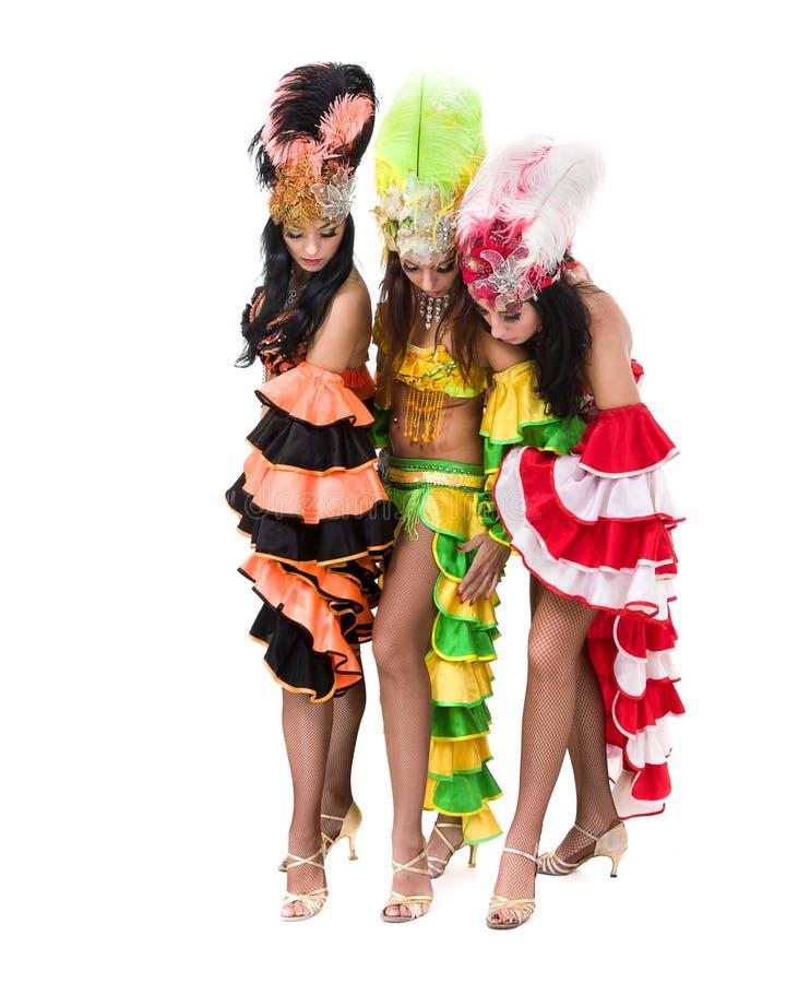 Dans för sambadansarelag som isoleras på den vita oavkortade längden fotografering för bildbyråer