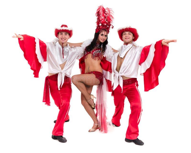 Dans för sambadansarelag som isoleras på vit bakgrund royaltyfria foton