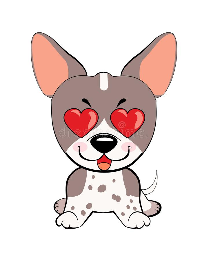 Dans l'amour, le baiser, romantique, relations, heureuses, avec le coeur observe des émotions illustrations de caractère de chien illustration stock