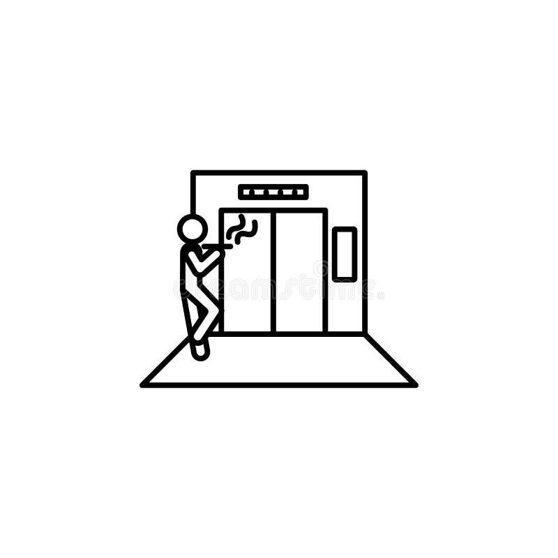 dans l'ascenseur, homme, icône de fumée Élément de situation dans l'icône d'ascenseur Icône de la meilleure qualité de conception illustration libre de droits