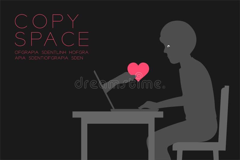Dans la causerie d'homme d'amour de la chute de cyber d'Internet dans l'idée foncée de fond, l'ordinateur portable et la main de  illustration de vecteur