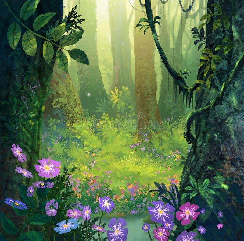 Dans la forêt illustration stock