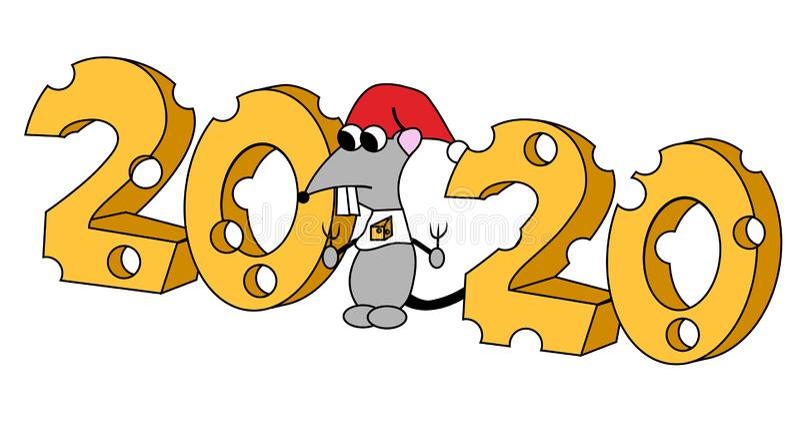 2020 dans la forme de fromage avec le caractère affamé An du rat Illustration d'isolement illustration stock