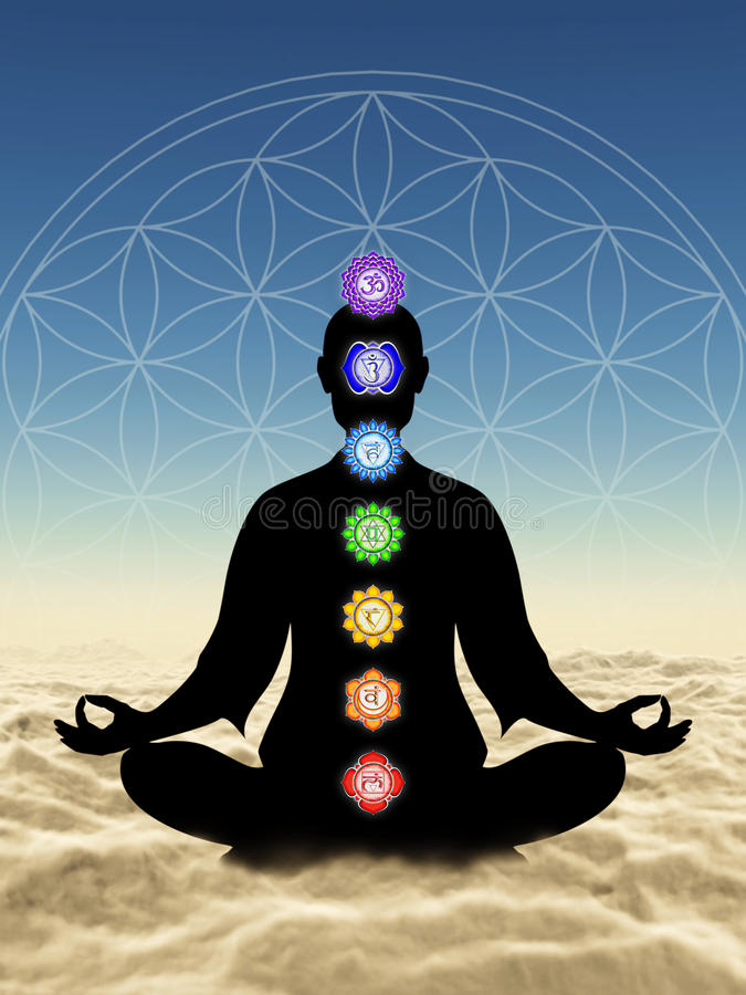 Dans la méditation avec des chakras au-dessus des nuages illustration de vecteur