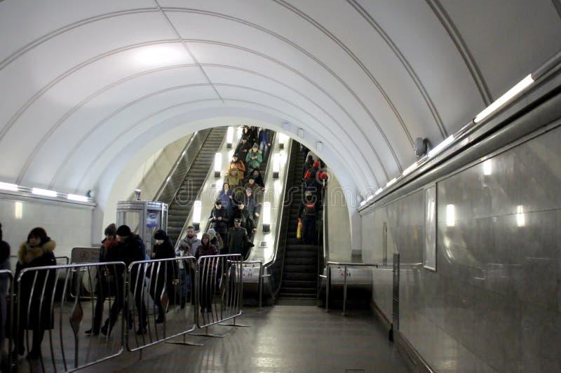 Dans la métro de Moscou image libre de droits