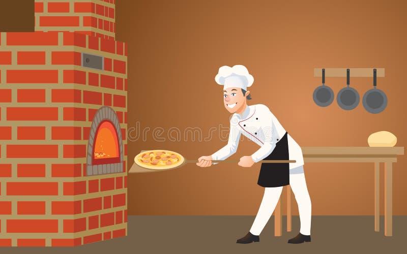 Dans la pizzeria, un jeune, heureux cuisinier met une pizza fraîchement cuite dans le four illustration libre de droits
