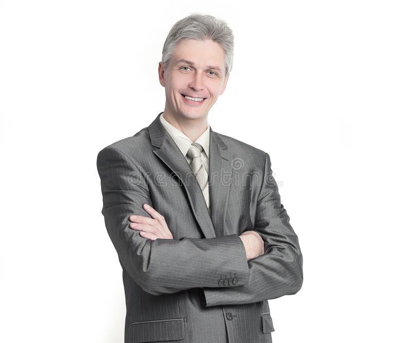 Dans la pleine croissance Homme d'affaires moderne r?ussi D'isolement sur un wh photographie stock libre de droits