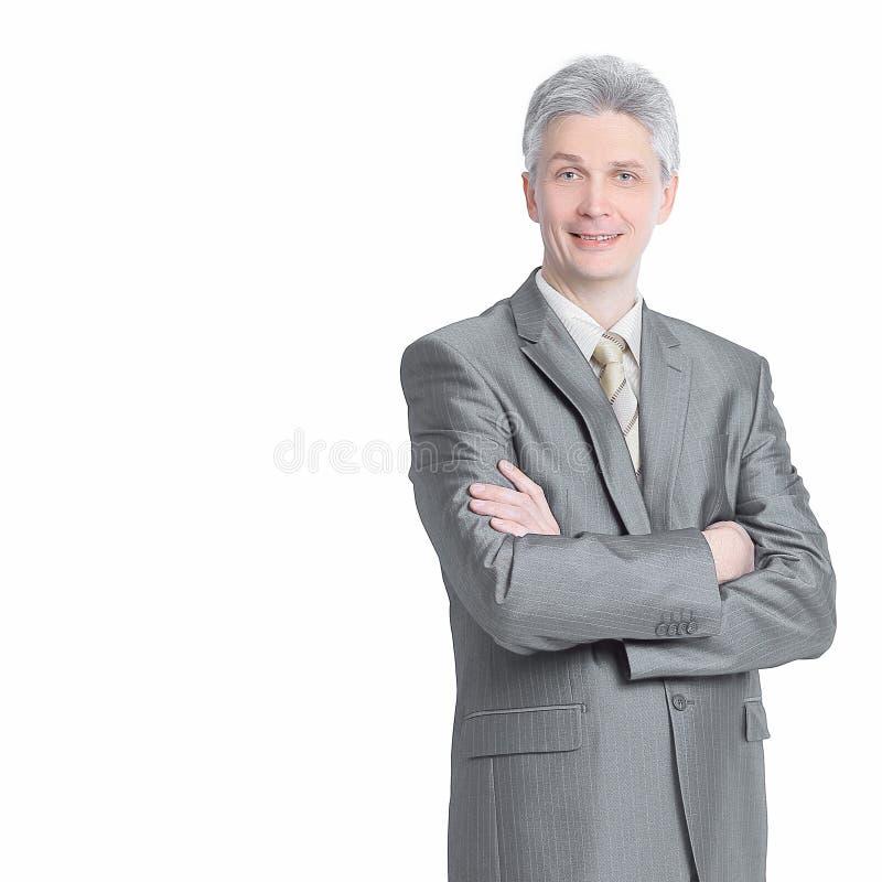 Dans la pleine croissance Homme d'affaires moderne r?ussi D'isolement sur un wh photo stock