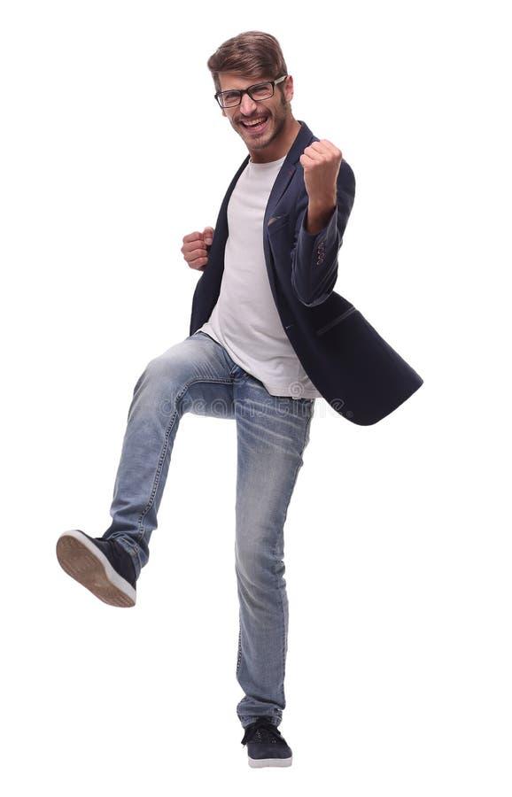 Dans la pleine croissance homme heureux de danse d'affaires image stock
