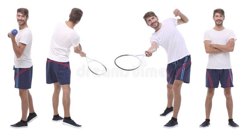Dans la pleine croissance joueur de tennis masculin beau d'isolement sur le blanc image libre de droits