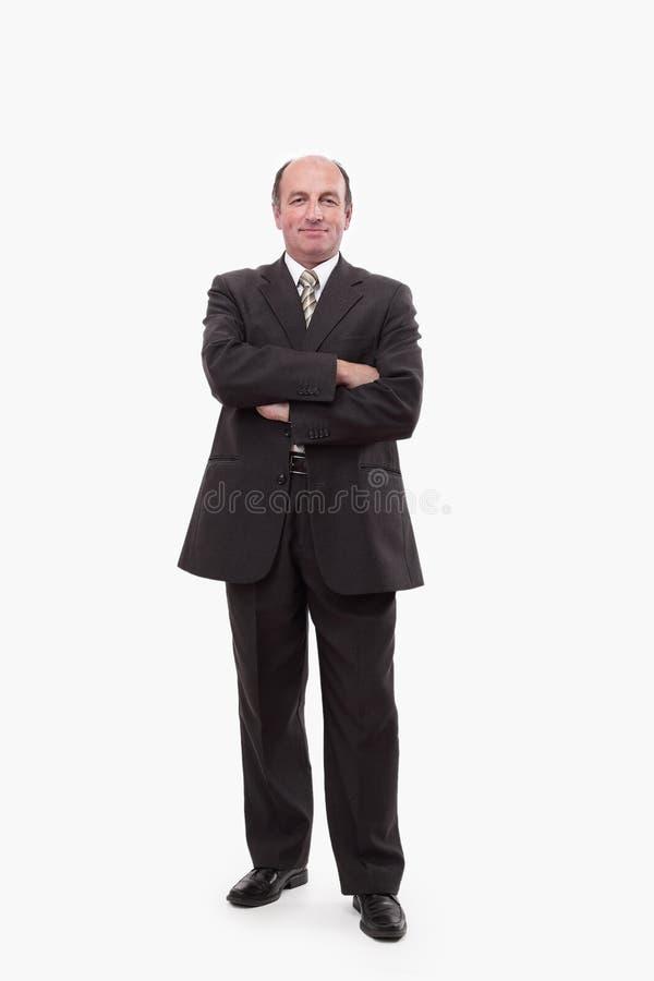 Dans la pleine croissance l'homme d'affaires supérieur réussi image stock