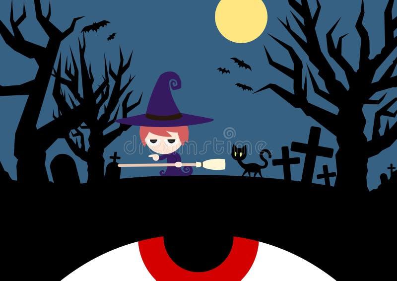 Dans la région forestière inexploitée Halloween illustration stock