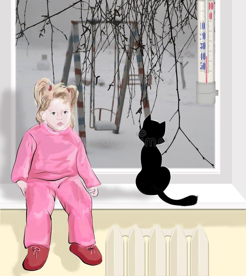 Dans la rue il fait très froid, des enfants se reposent à la maison illustration de vecteur