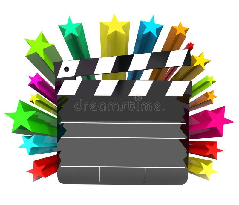 Dans le film de projecteur le conseil de clapet tient le premier rôle le cinéma de Hollywood illustration libre de droits