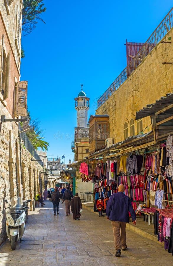 Dans le quart musulman de Jérusalem image libre de droits
