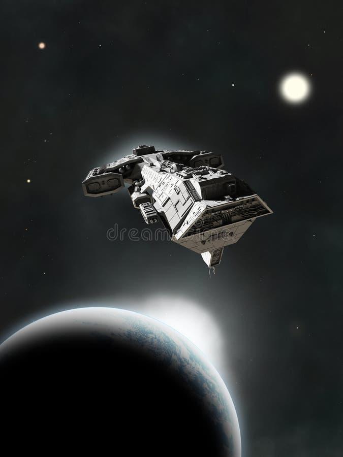 Dans le système, croiseur cuirassé de la science-fiction illustration stock