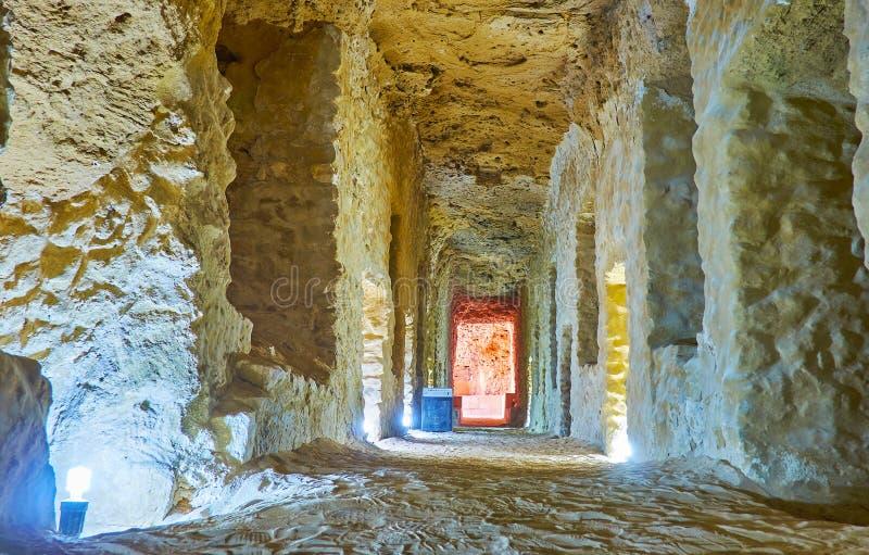 Dans les catacombes antiques, Serapeum, l'Alexandrie, Egypte images stock