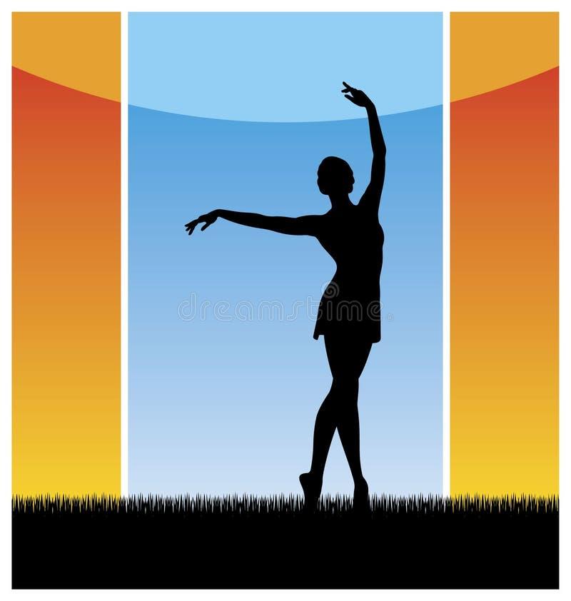 Dans op een gras royalty-vrije illustratie