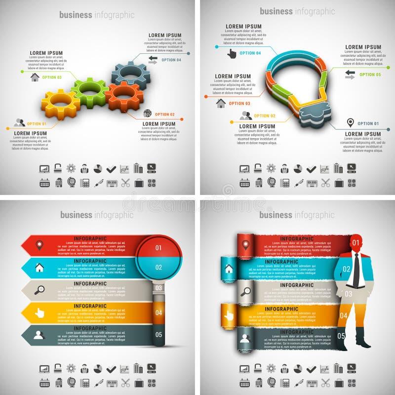 4 dans 1 paquet d'Infographics illustration libre de droits