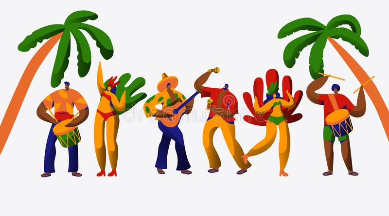 Dans Samba Set för tecken för Brasilien karnevalparti Mankvinnadansaren på den brasilianska etniska festivalen isolerade bakgrund royaltyfri illustrationer