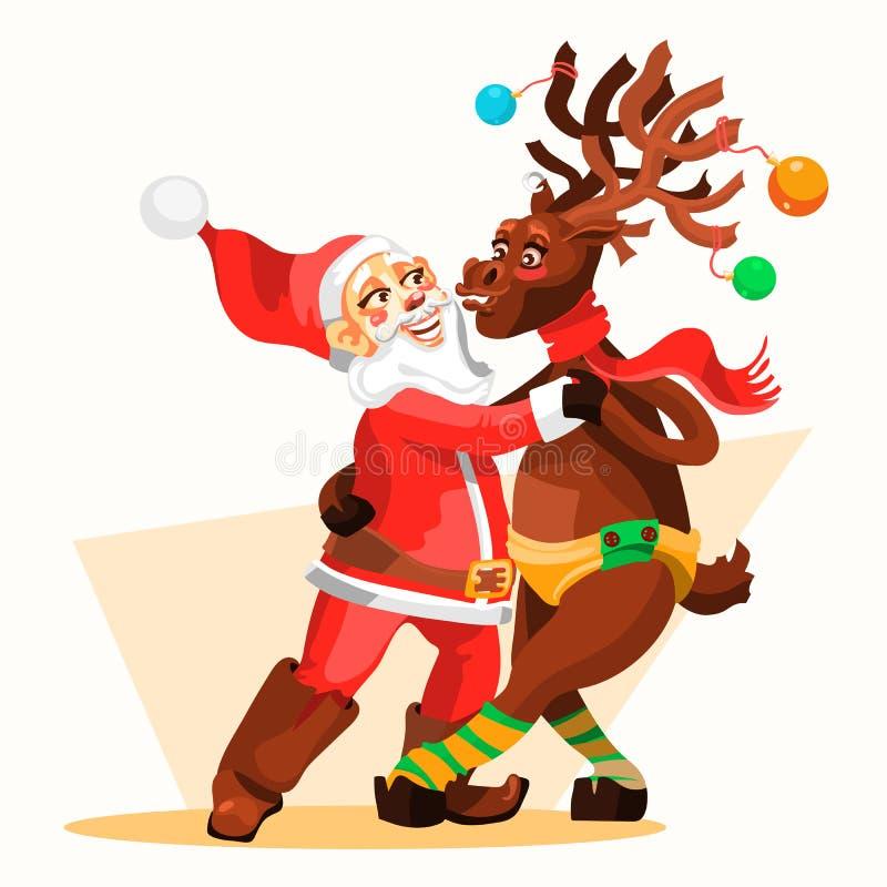 Dans Santa Claus med julrenen Roliga och gulliga tecken för glad jul stock illustrationer