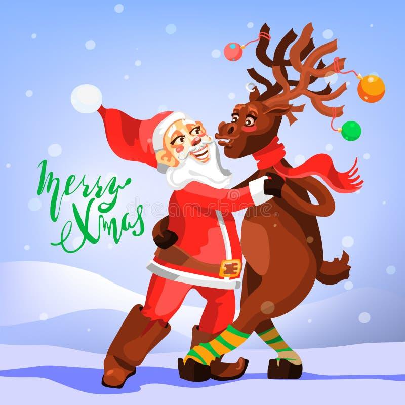 Dans Santa Claus med julrenen Roligt och gulligt hälsningkort för glad jul royaltyfri illustrationer