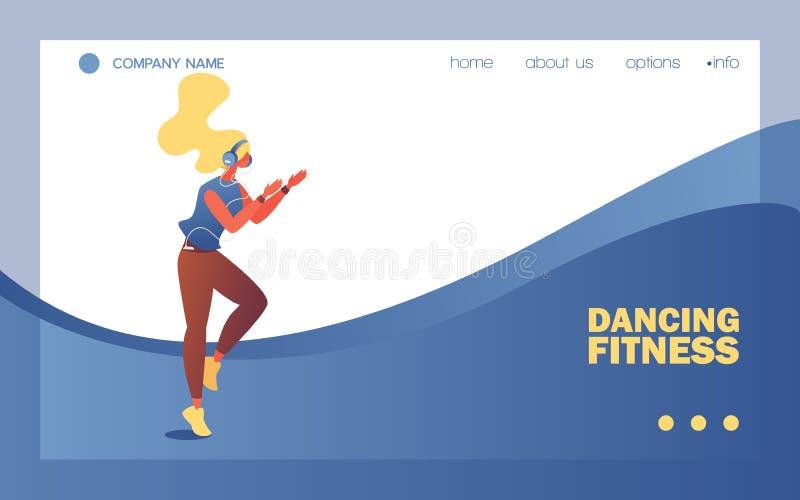 Dansa banret eller att landa f?r konditionskola sidamallen Vektorbegreppsillustration med den unga kvinnan som appl?derar h?nder  stock illustrationer