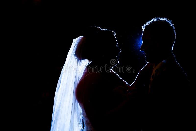 dansa den första silhouetten arkivfoton