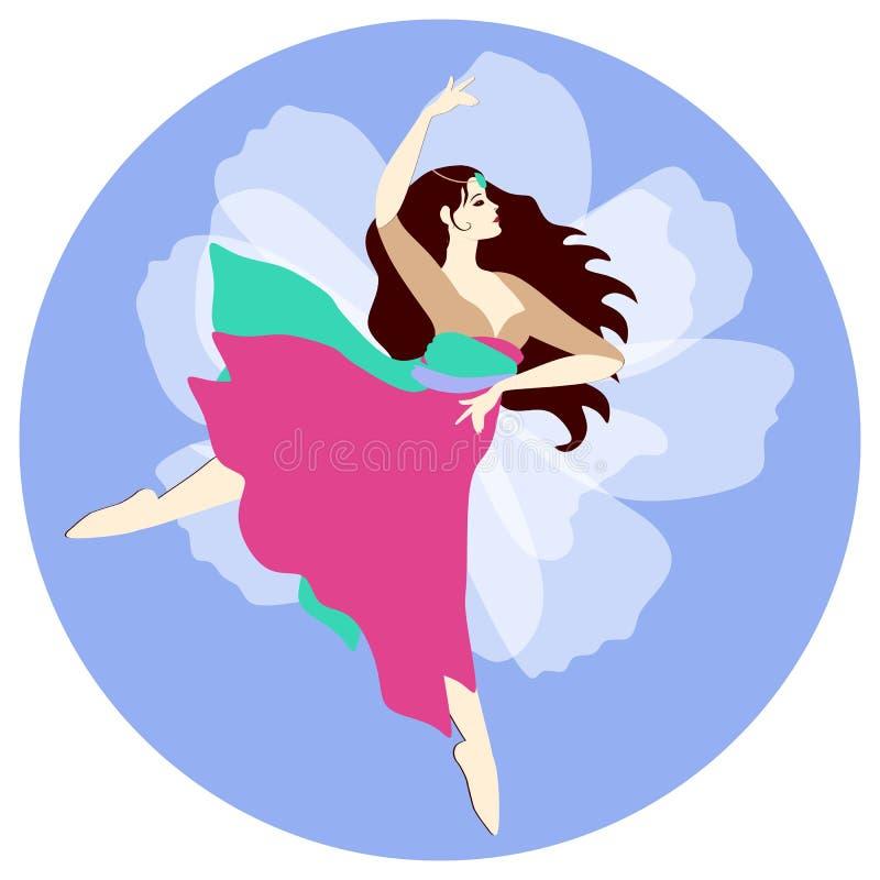 Dansa den indiska flickan i nationell kläder på bakgrunden av en härlig vit blomma Hälsning- eller inbjudankort, logo i vektor stock illustrationer