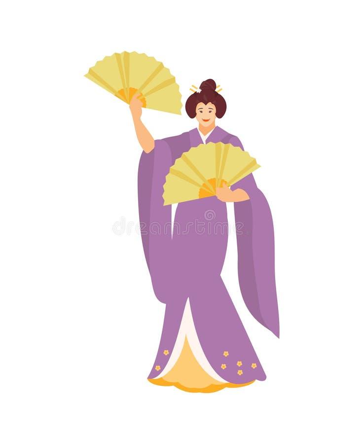 Dansa den japanska geishavektorn royaltyfri illustrationer