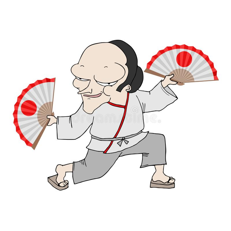 Dansa den japanska mannen royaltyfri illustrationer