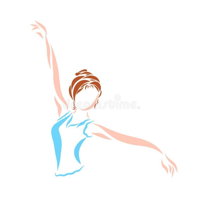 Dansa den unga kvinnan eller flickan som gör gymnastik royaltyfri illustrationer