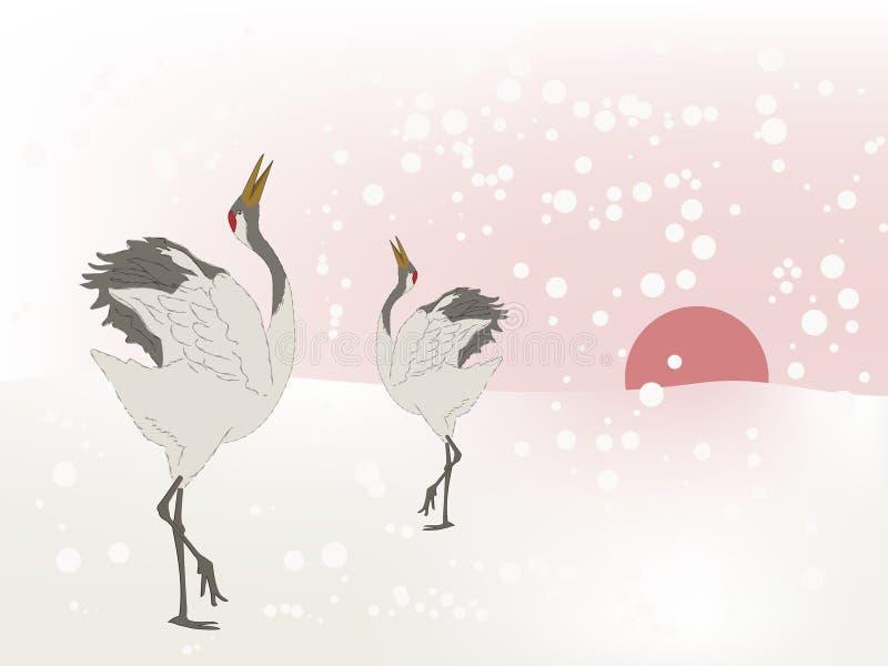 dansa för kranar vektor illustrationer