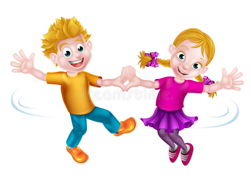 Dansa för tecknad filmbarn royaltyfri illustrationer