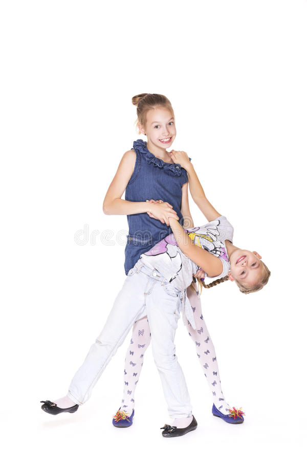 Dansa för två härligt flickor fotografering för bildbyråer