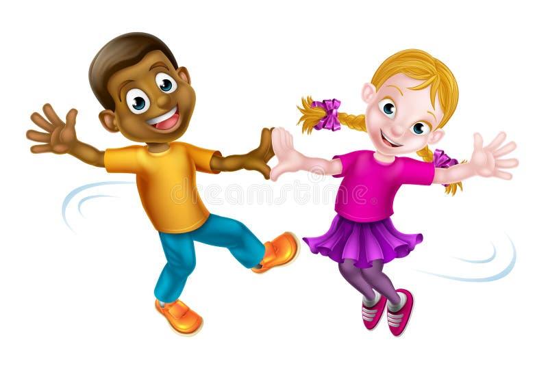Dansa för två ungar royaltyfri illustrationer