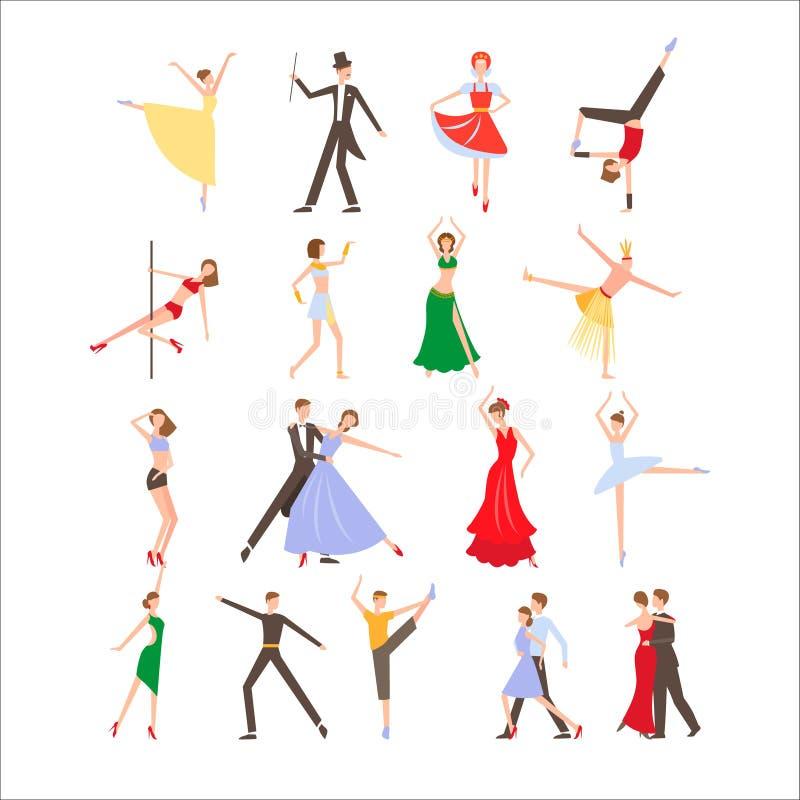 Dansa festivalen, olika dansstilar, plan symbol royaltyfri illustrationer