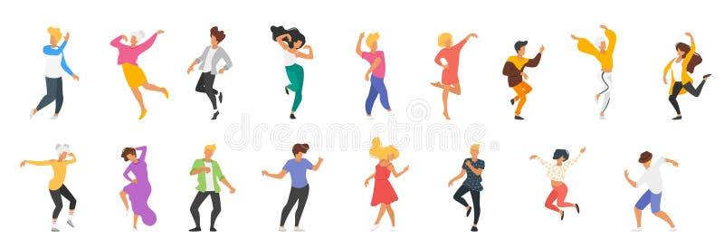 Dansa folkkonturn royaltyfri illustrationer