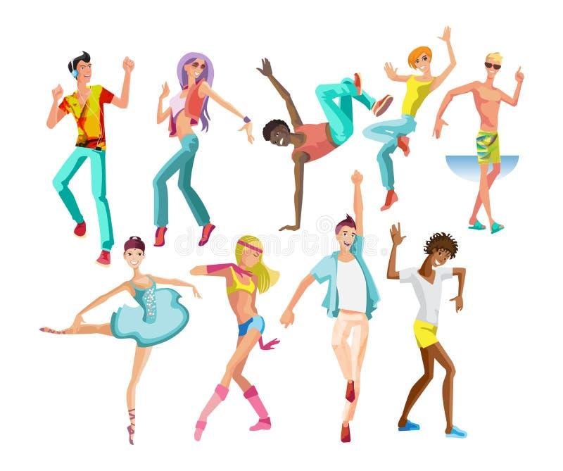 Dansa grabbar, flickor, i moderna stilar, typer, med olik förehavanden royaltyfri illustrationer