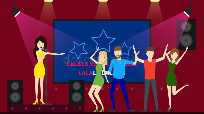 Dansa i karaokestång stock illustrationer