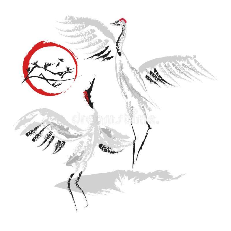 Dansa kranar 7 royaltyfri illustrationer