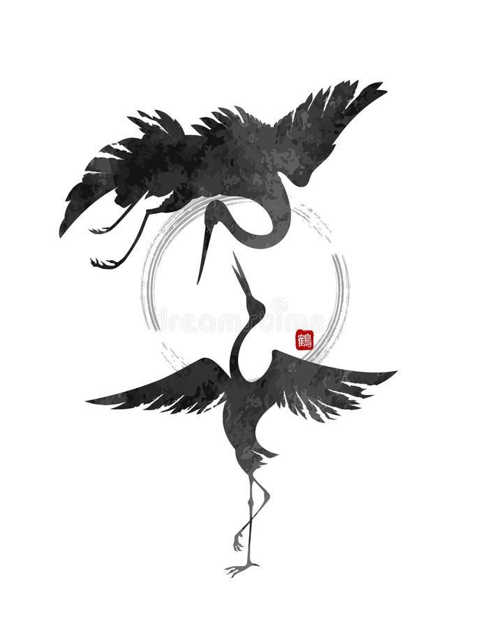 Dansa kranar royaltyfri illustrationer