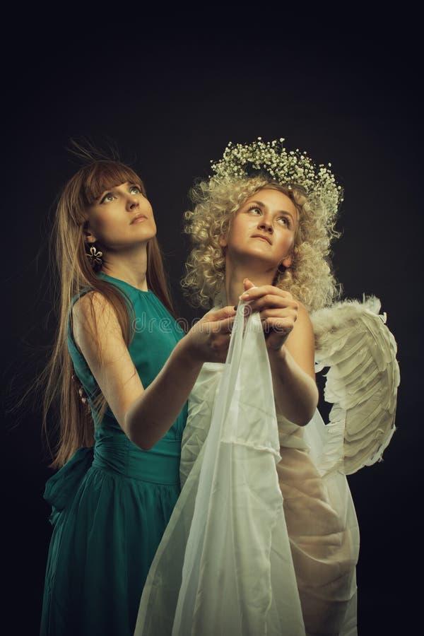 Dansa med ängel royaltyfri foto