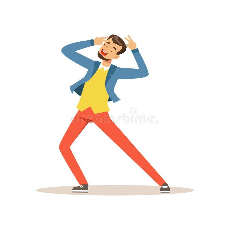 Dansa och sjungande man som har gyckel under berömpartiet Den unga grabben tycker om ferie Tecknad filmtecken i ljust vektor illustrationer